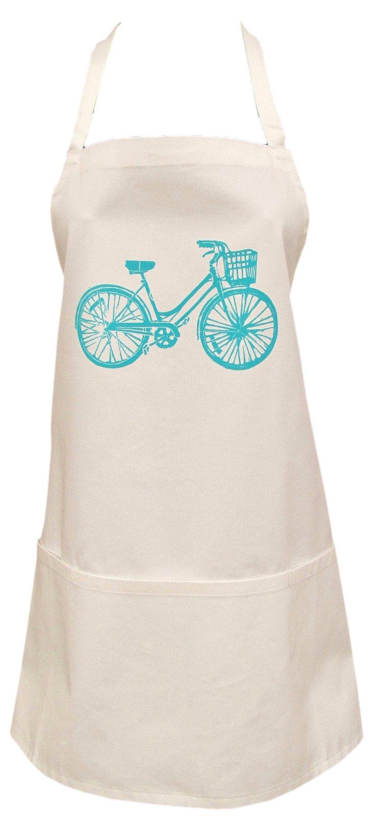 Organic Bicycle Full Apron, Turquoise