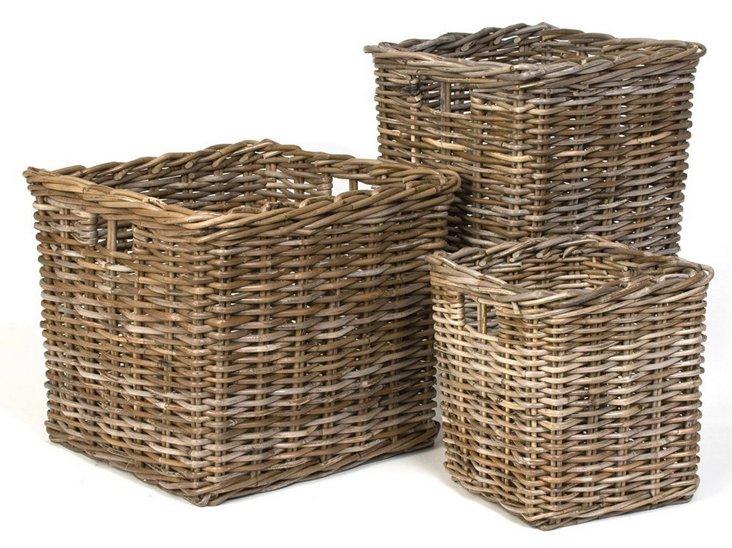 S/3 Rattan Storage Baskets, Brown
