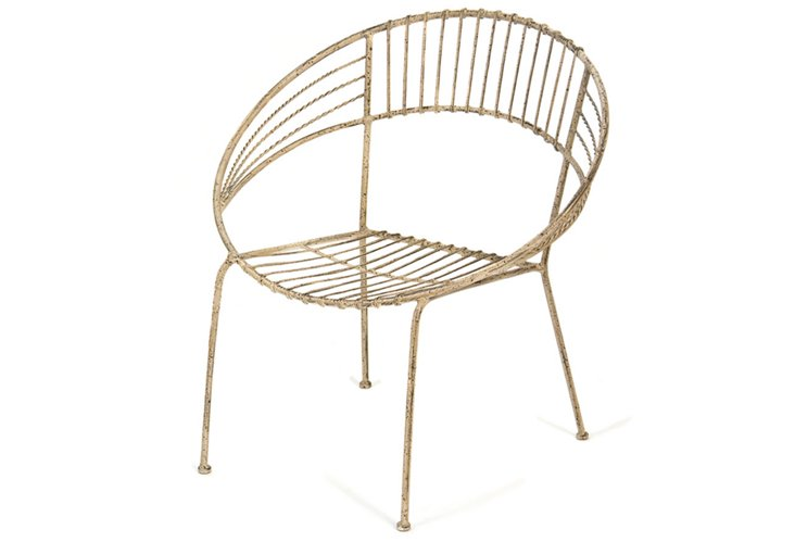 Round Metal Chair, Light Brown