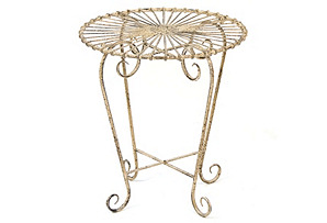 Round Metal Side Table, Light Brown