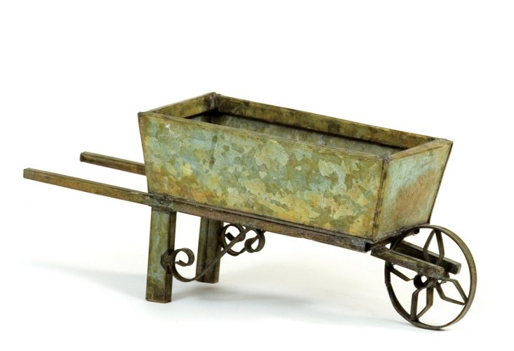 Rect. Verdigris Tin Flower Cart