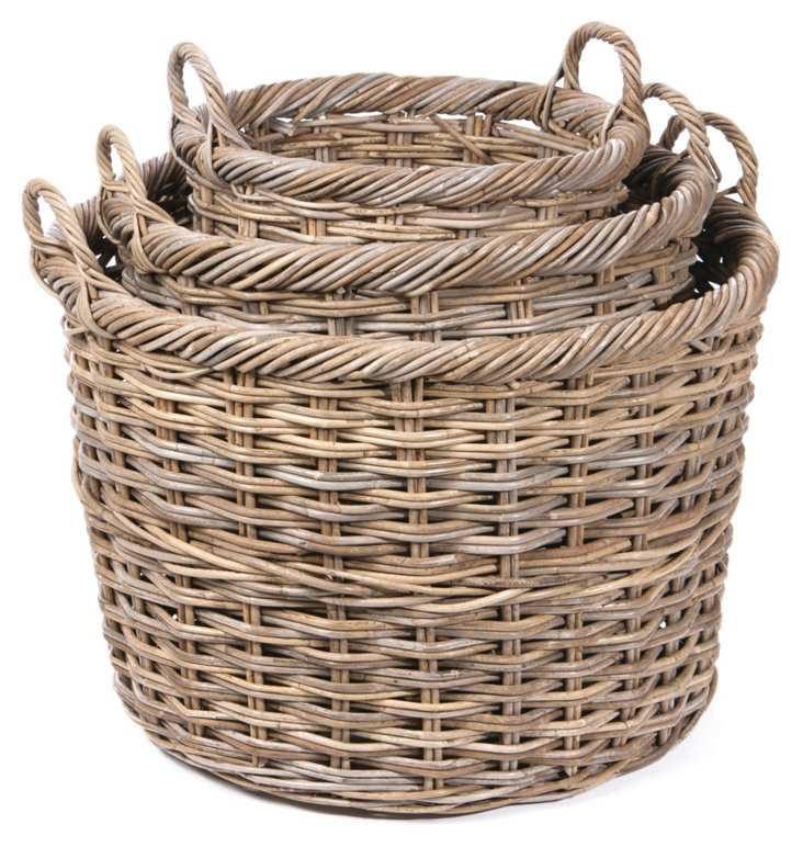 S/3 Rattan Storage Baskets, Natural