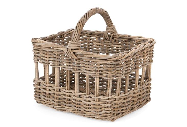 Striped Rattan Basket