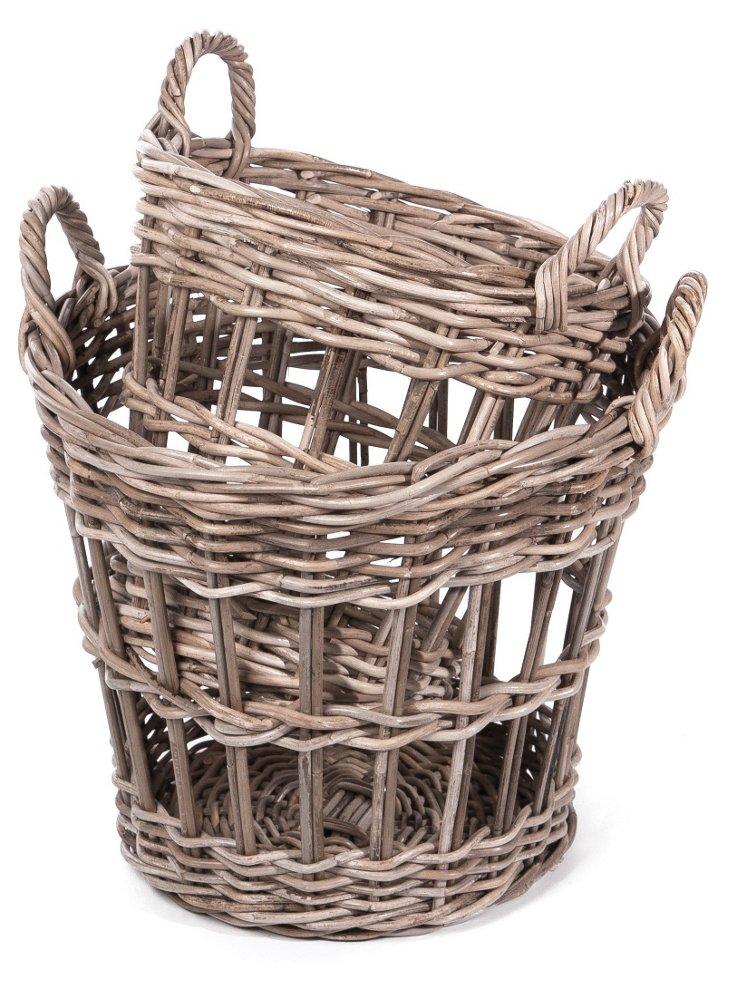 S/2 Tall Striped Rattan Baskets