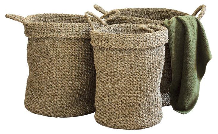 Asst of 3 Sea-Grass Utility Baskets