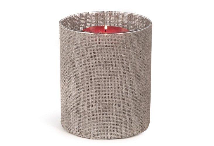 "9"" Fabric & Glass Candleholder, Gray"