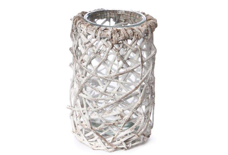 Rattan & Glass Vase, Medium
