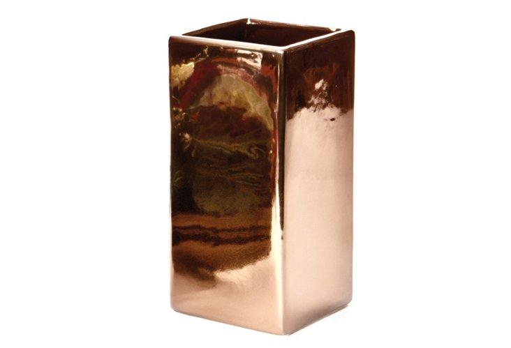 """12"""" Ceramic Vase, Bronze"""