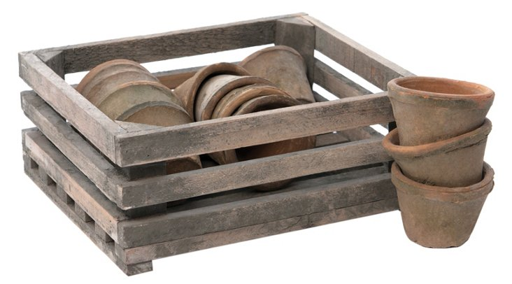 S/12 Pots w/ Wooden Crate, Brown