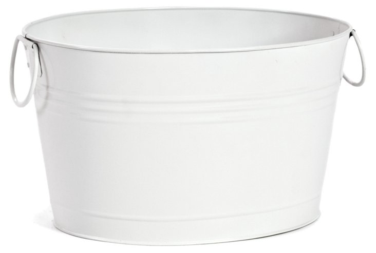 Large Metal Bucket, White