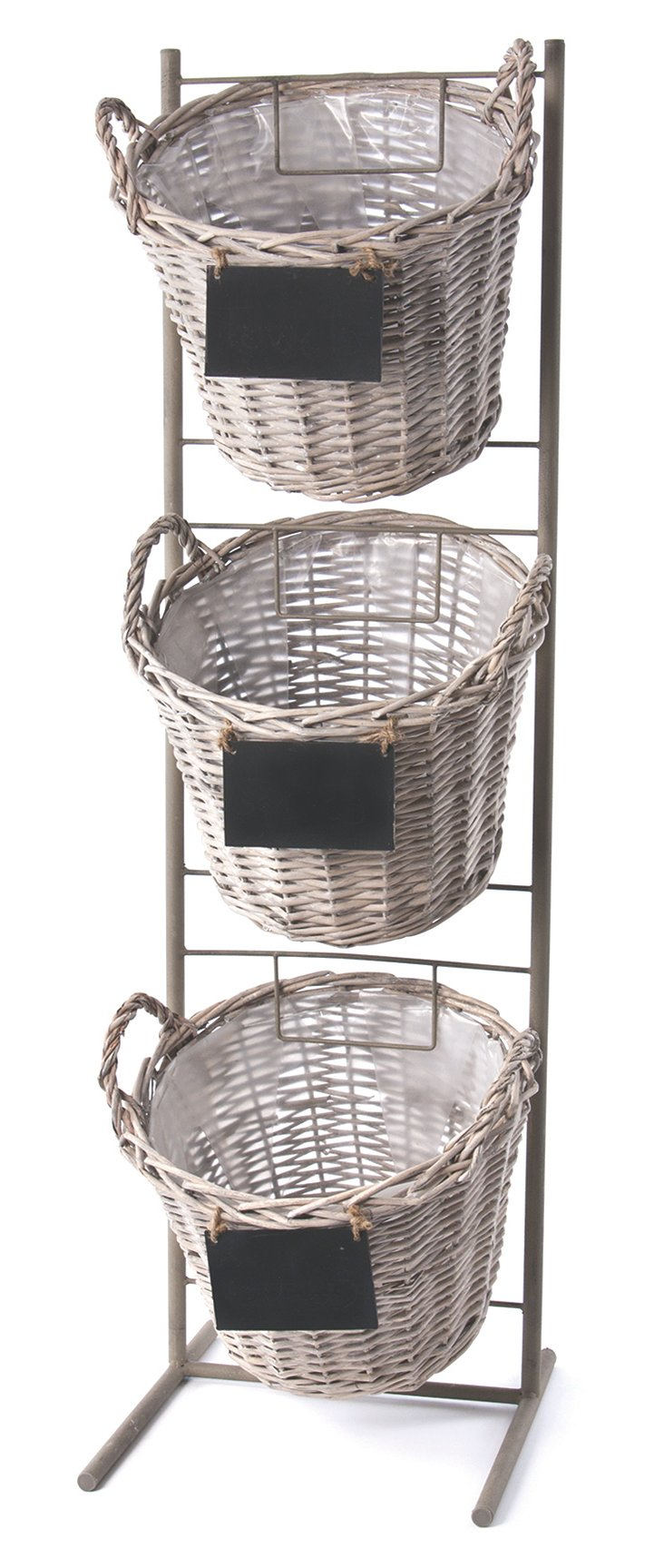 Stacked Baskets w/ Stand, Gray