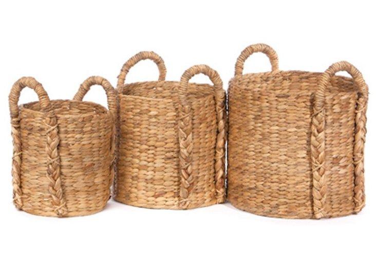 S/3 Round Hyacinth Storage Baskets