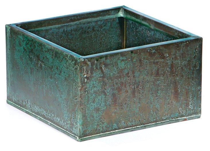 "S/2 7"" Steel Planters, Antiqued Copper"