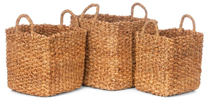 S/3 Square Hyacinth Storage Baskets