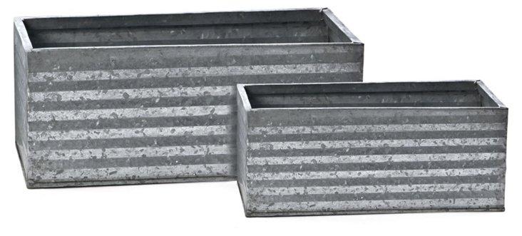 Asst. of 2 Galvanized Tin Planters, Gray