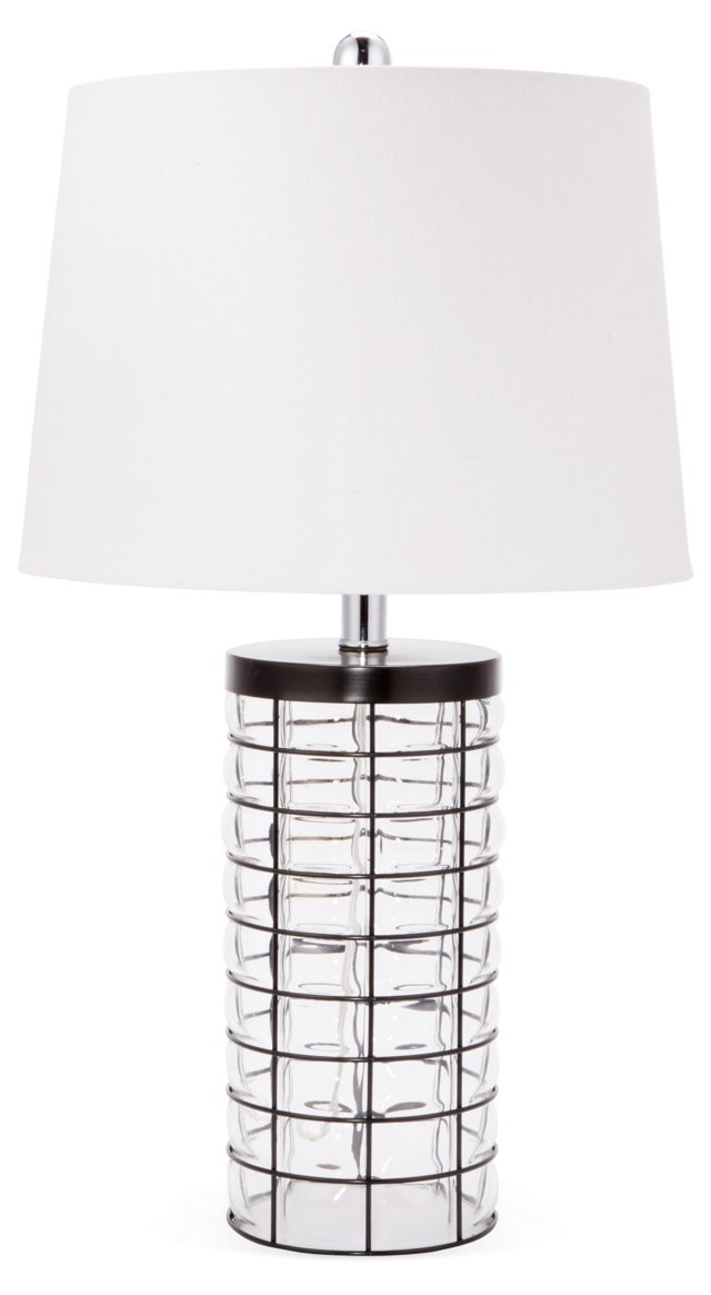 Lattice Table Lamp, Metal/Glass