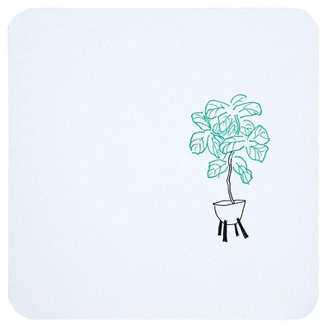 Fiddle Leaf Mounted Wall Print, 8x8