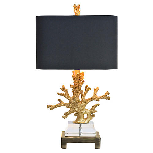 Coral Table Lamp, Gold