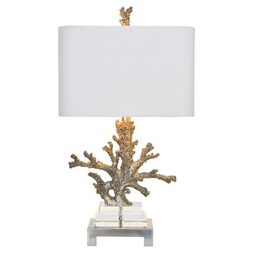 Coral Table Lamp, Brushed Steel