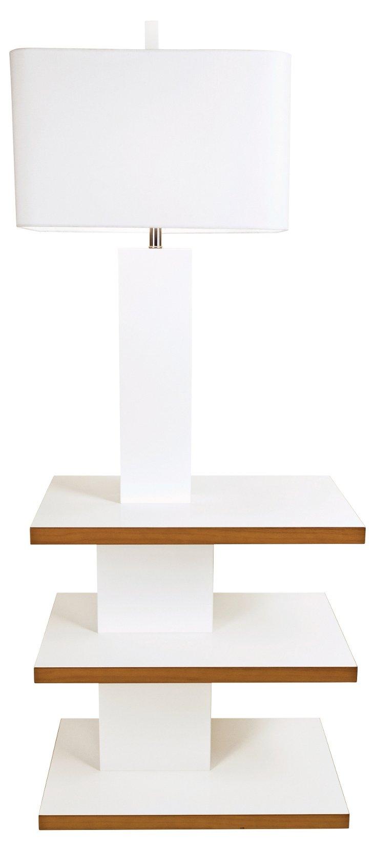 Brea Tray Floor Lamp, White Lacquer