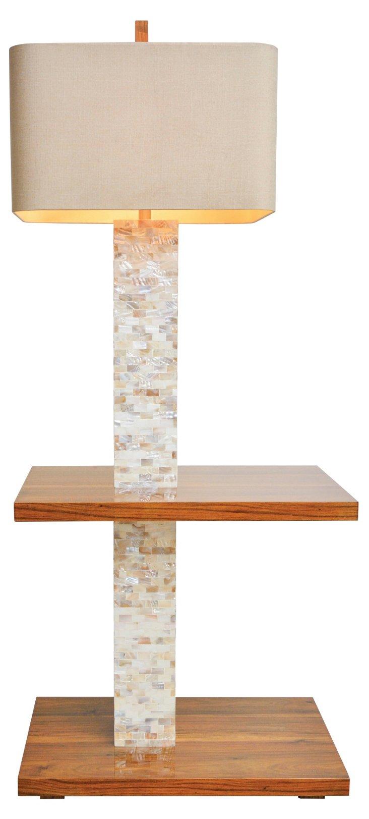 Roxbury Tray Floor Lamp, Acacia Wood