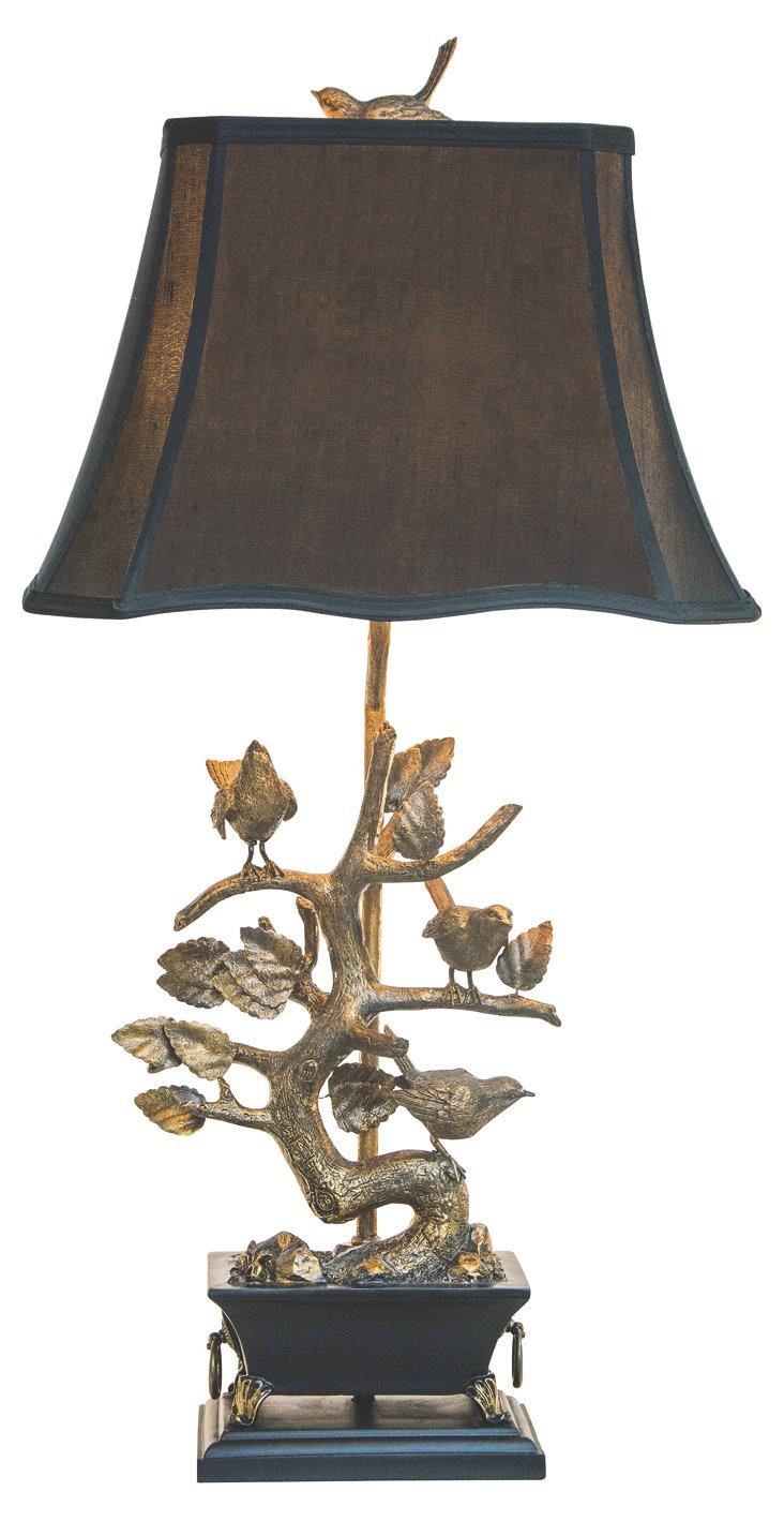 Brass Bird Table Lamp, Gold