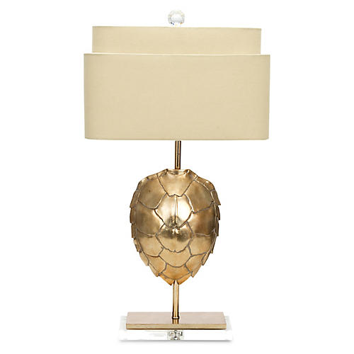 Gilded Tortoise Table Lamp, Silver