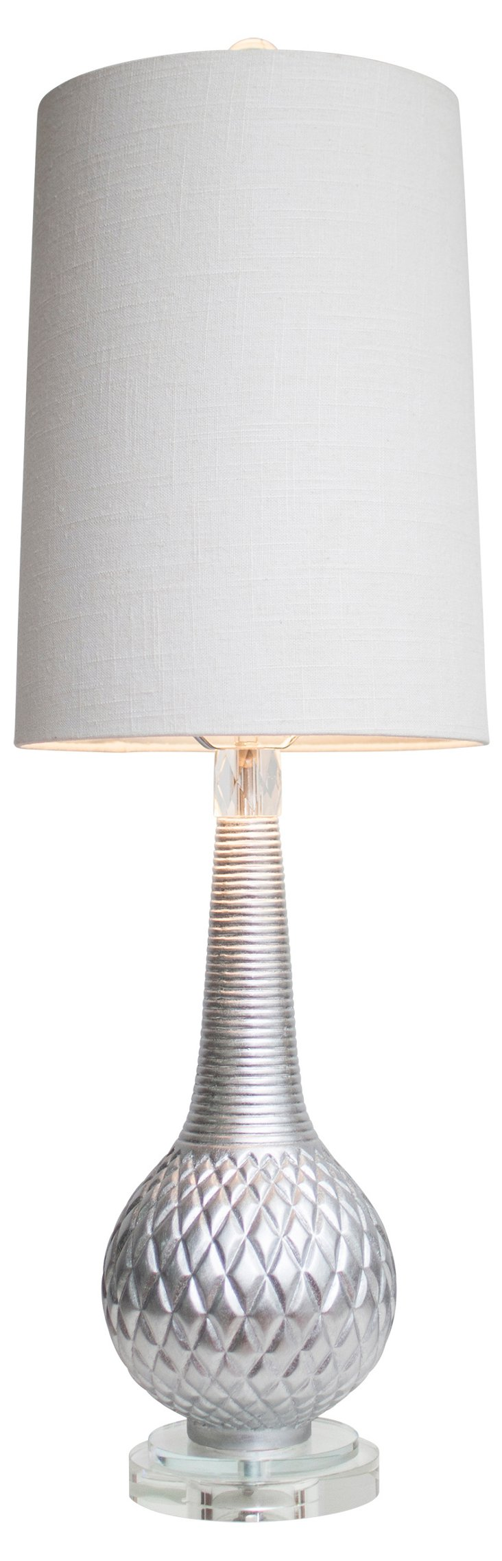 Knight Table Lamp, Lacquered Silver
