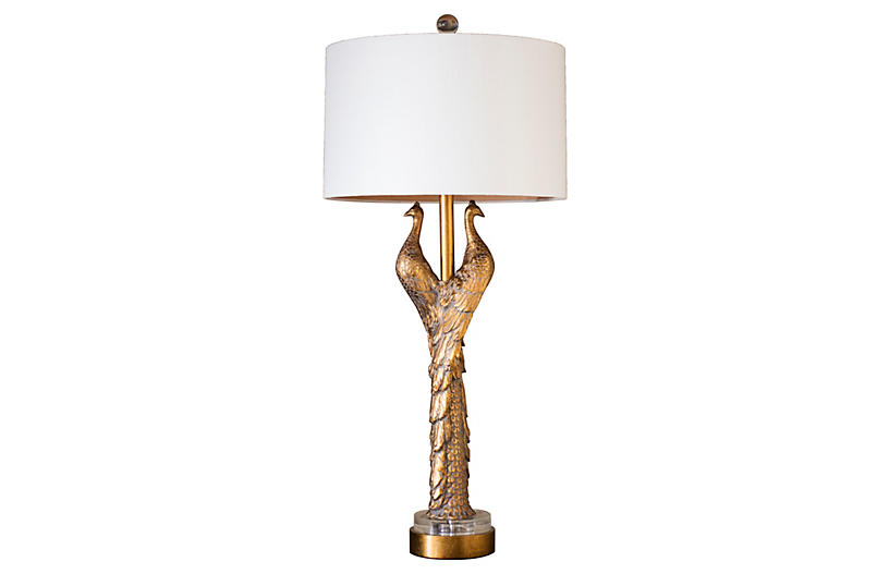 Gold Hera table lamp with peacocks as the base.
