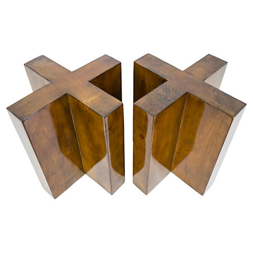 Arcadia Bookend Set, Stained Wood