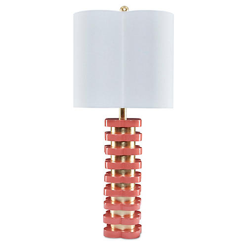 Quatrefoil Table Lamp, Coral