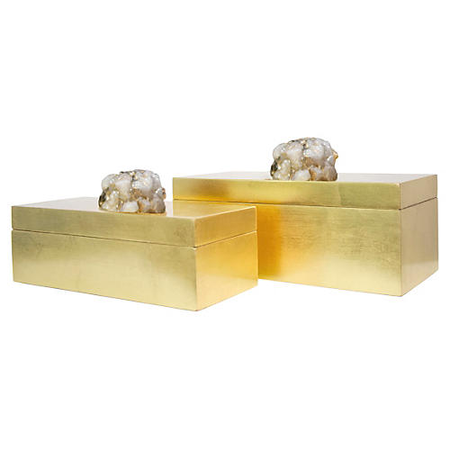 S/2 Astoria Quartz Boxes, Rose Gold