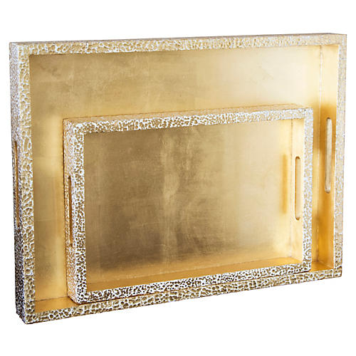 S/2 Atwater Rectangular Trays, Gold