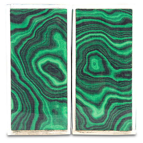 S/2 Geo Bookends, Emerald/Clear