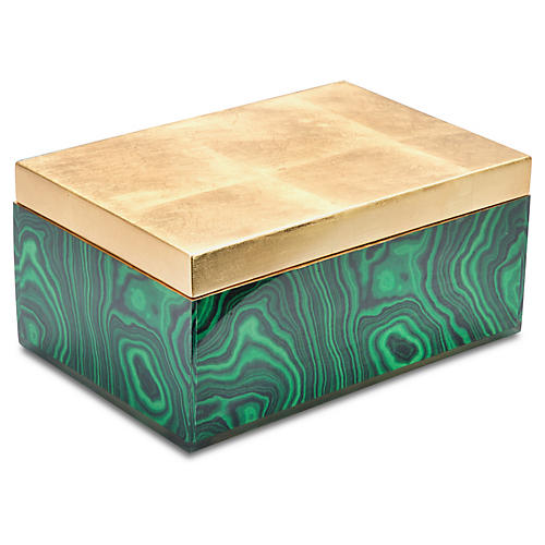 "12"" Geo Box, Emerald/Gold"
