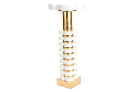Quatrefoil Side Table, White/Gold