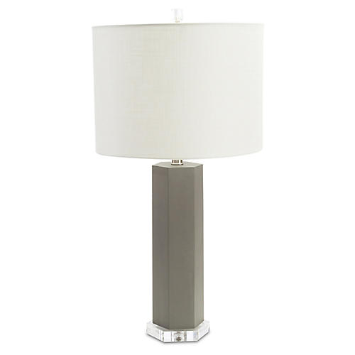 Atherton Crystal Table Lamp, Misty Gray