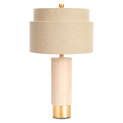 Flagstaff Table Lamp, Natural/Gold Leaf