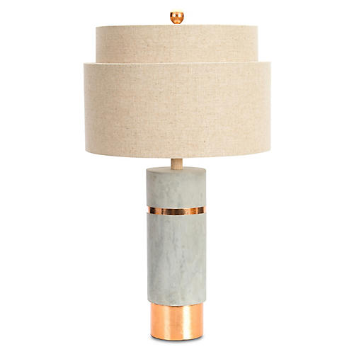 Huntington Table Lamp, Gray/Rose Gold