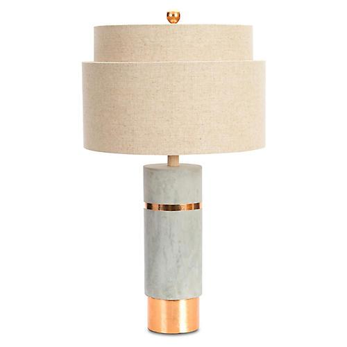 Huntington Table Lamp, Gray/Rose Gold