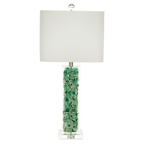 Oceanaire Crystal Table Lamp, Emerald/Clear