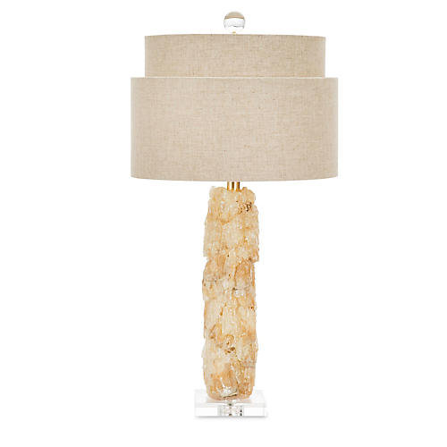 Roxbury Crystal Table Lamp, Amber/Yellow