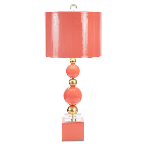 Sheridan Crystal Table Lamp, Coral/Gold