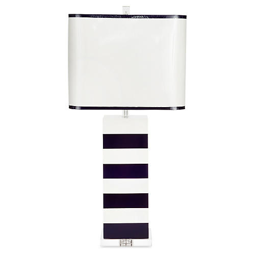 Lindsay Table Lamp, Indigo/White