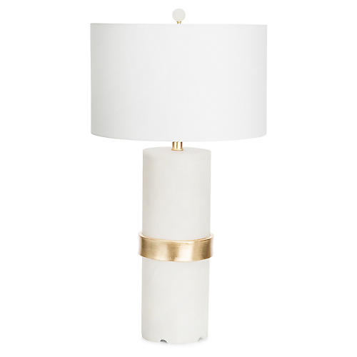 Hermosa Table Lamp, Frosted White/Gold