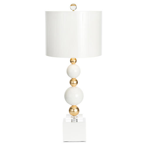 Sheridan Table Lamp, White/Gold
