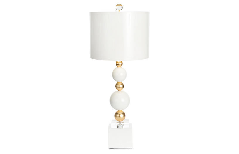 Sheridan Table Lamp, White/Gold