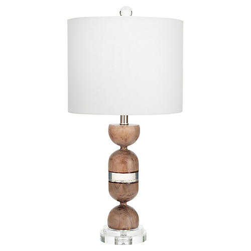 Martinique Table Lamp, Walnut/Clear