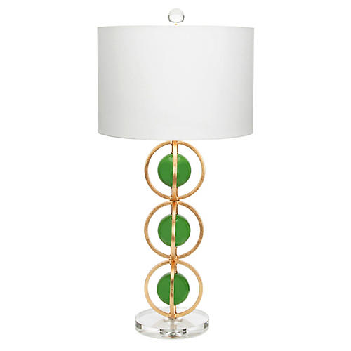 Anderson Table Lamp, Kelly Green/Gold