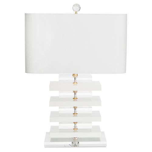 Devonshire Table Lamp, White/Clear